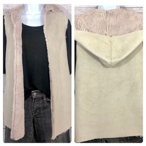 Dylan Faux Shearling & Suede Hooded Vest XS-M